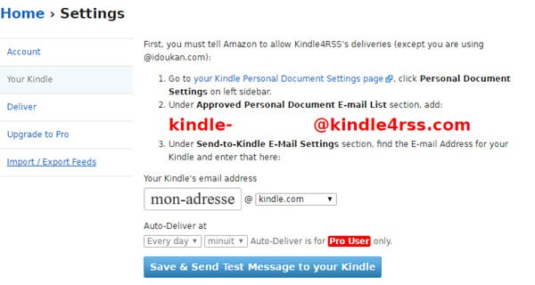 Configurer Kindle4rss