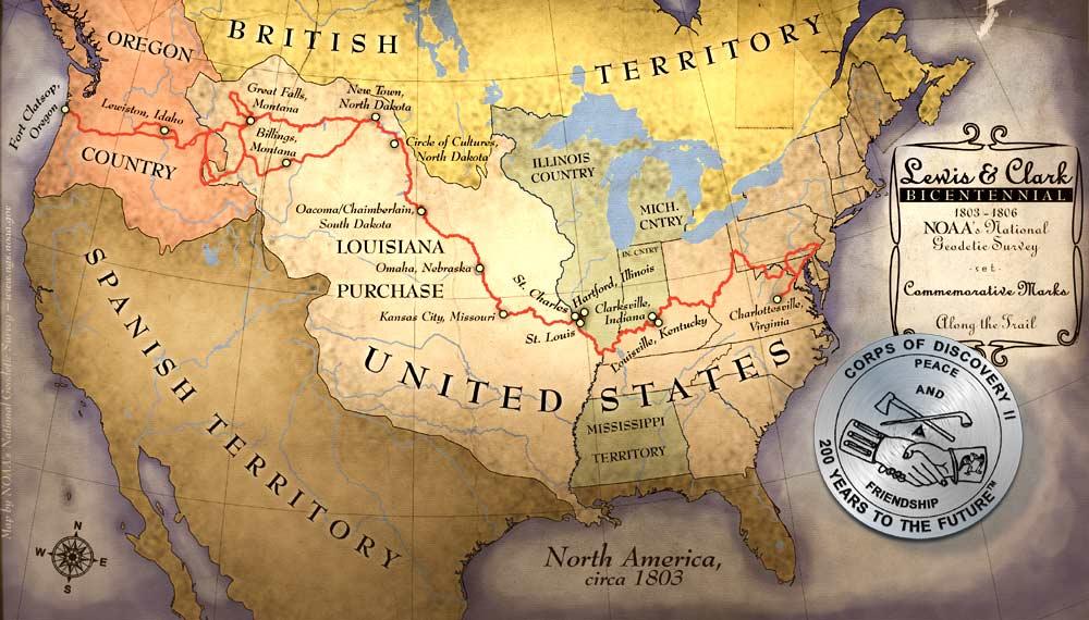 carte de l'expédition de Lewis et Clark